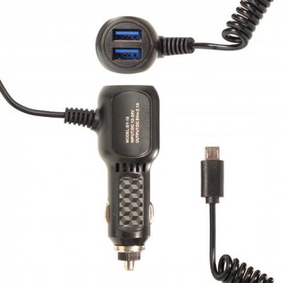 Автомобильное зарядное устройство 5V 2.1A Витой кабель MicroUSB